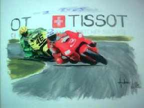 Max Biaggi hotly pursued by Valentino Rossi - Donnington July 2001